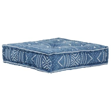 vidaXL Pouf Quadrat Baumwolle mit Muster Handgefertigt 50x50x12cm Blau[1/3]