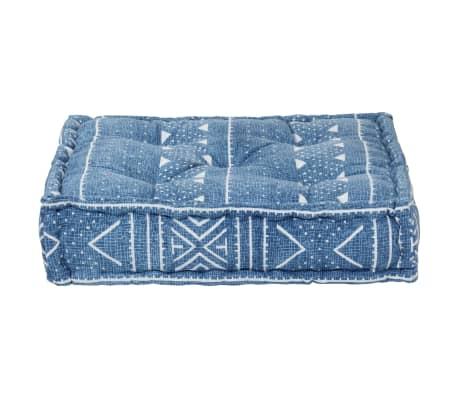 vidaXL Pouf Quadrat Baumwolle mit Muster Handgefertigt 50x50x12cm Blau[2/3]