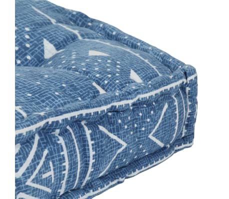 vidaXL Pouf Quadrat Baumwolle mit Muster Handgefertigt 50x50x12cm Blau[3/3]