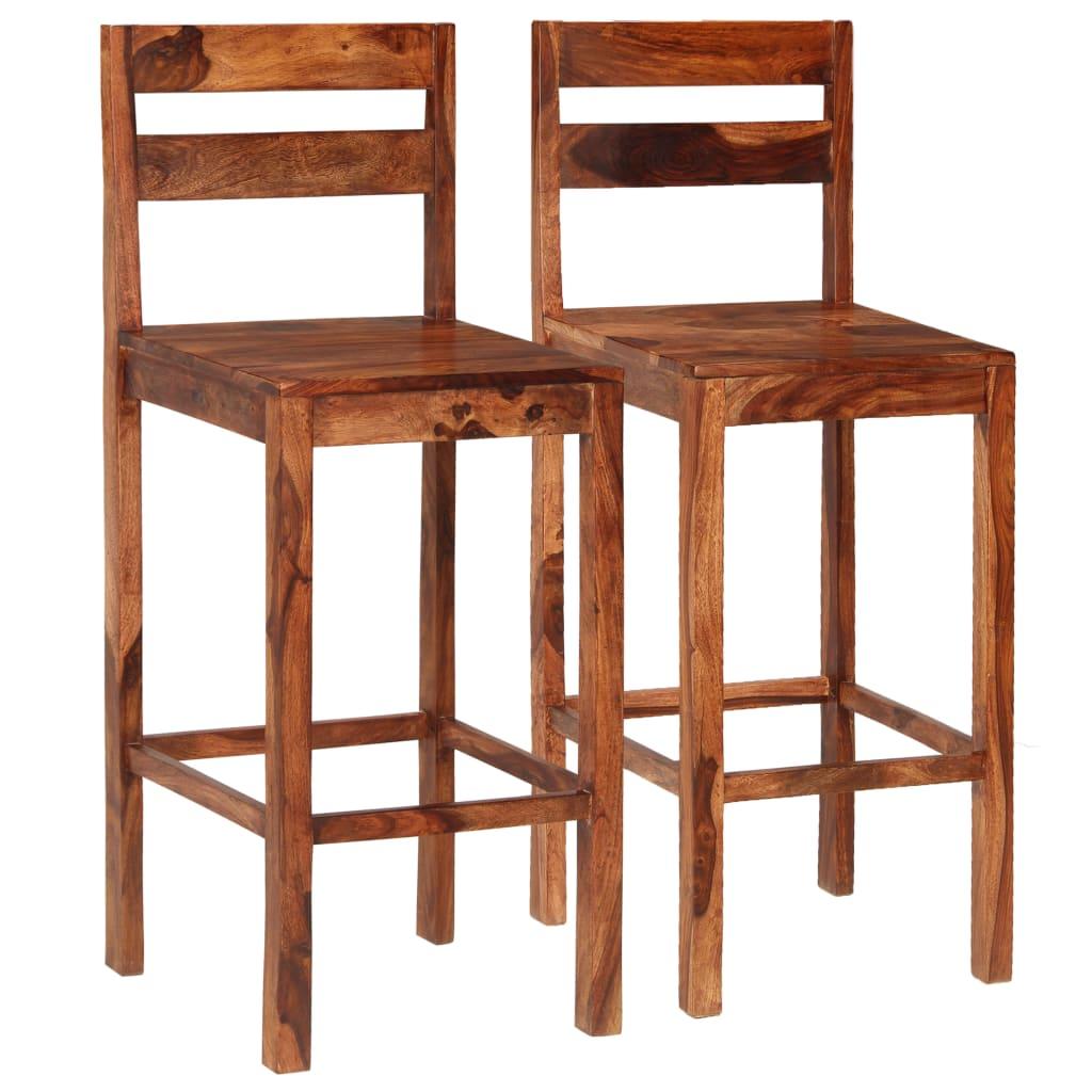 vidaXL Καρέκλες Μπαρ 2 τεμ. Καφέ από Μασίφ Ξύλο Sheesham