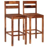 vidaXL Bar Chairs 2 pcs Brown Solid Sheesham Wood