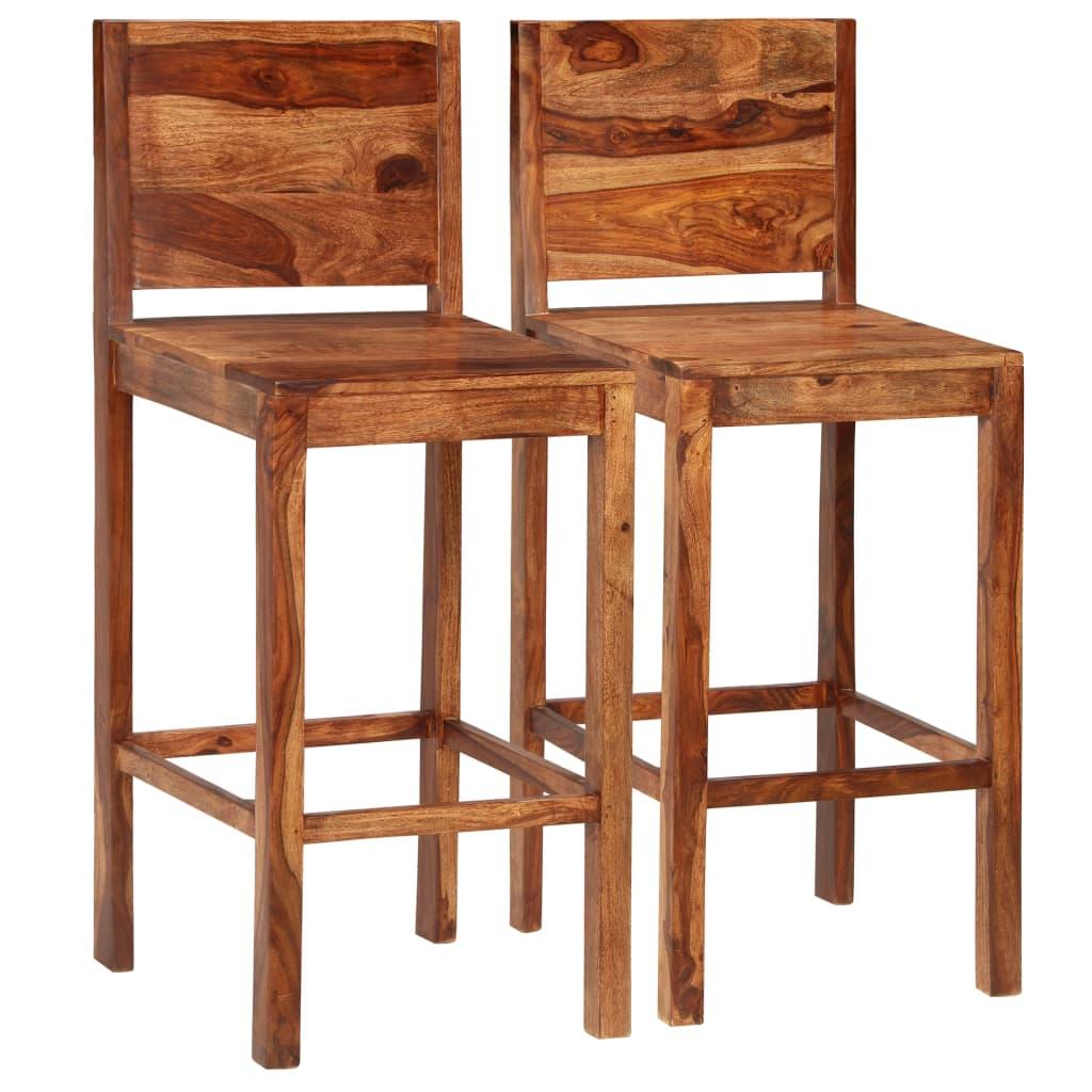 vidaXL Scaune de bar, 2 buc., maro, lemn masiv de sheesham imagine vidaxl.ro