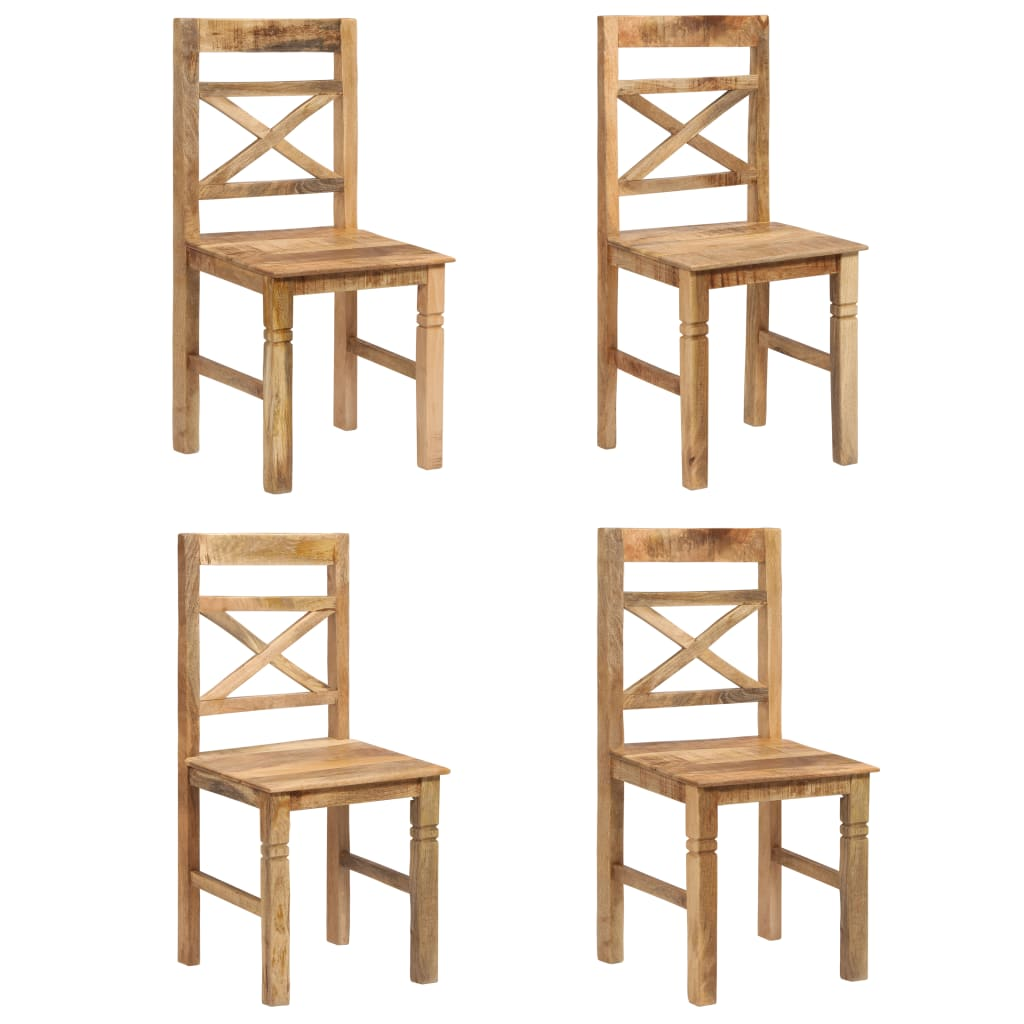 vidaXL Καρέκλες Τραπεζαρίας 4 τεμ. από Μασίφ Ξύλο Μάνγκο