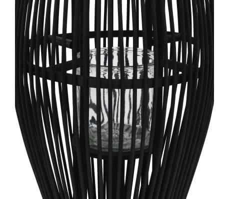 vidaXL Suport felinar lumânări suspendat, negru, 95 cm, bambus[2/5]