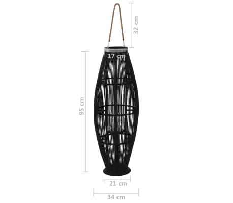 vidaXL Suport felinar lumânări suspendat, negru, 95 cm, bambus[5/5]