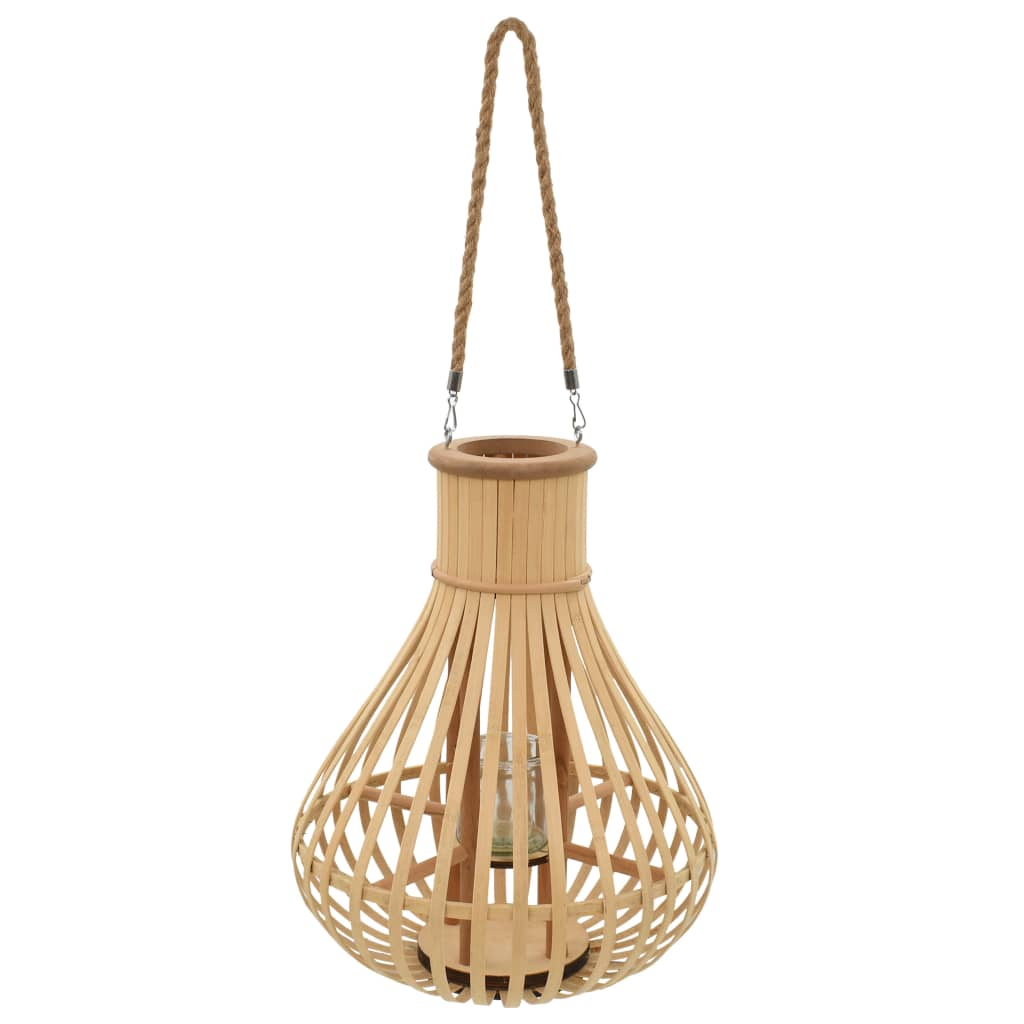 vidaXL Wiszący lampion na świece, bambusowy, naturalny