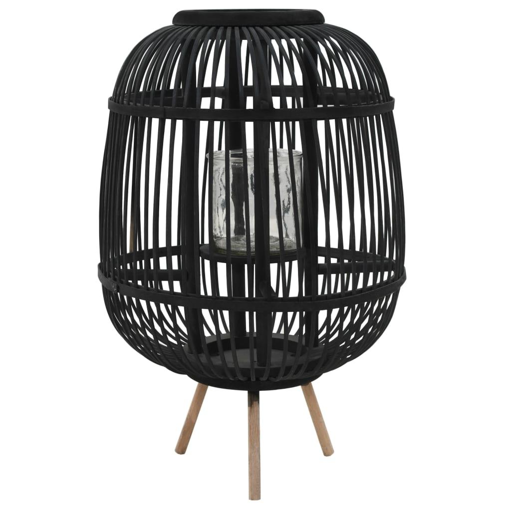 vidaXL Suport lumânări tip felinar vertical, negru, bambus poza 2021 vidaXL