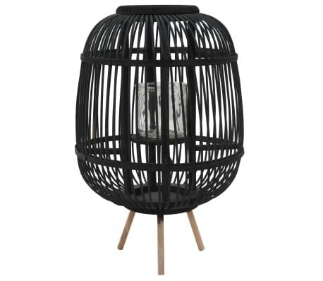 vidaXL Fristående ljuslykta bambu svart