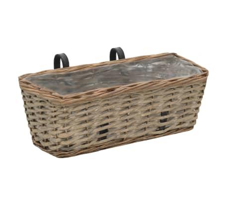 vidaXL Balcony Planter 2 pcs Wicker with PE Lining 40 cm[2/6]
