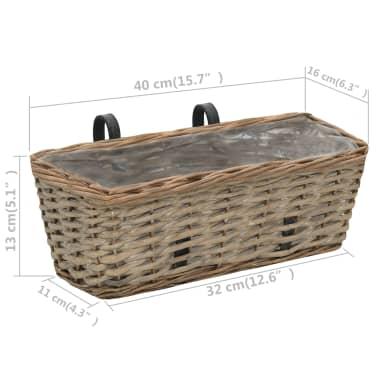 vidaXL Jardinieră de balcon, 2 buc., 40 cm, răchită căptușeală PE[6/6]