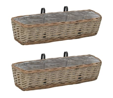 "vidaXL Balcony Planter 2 pcs Wicker with PE Lining 23.6""-picture"