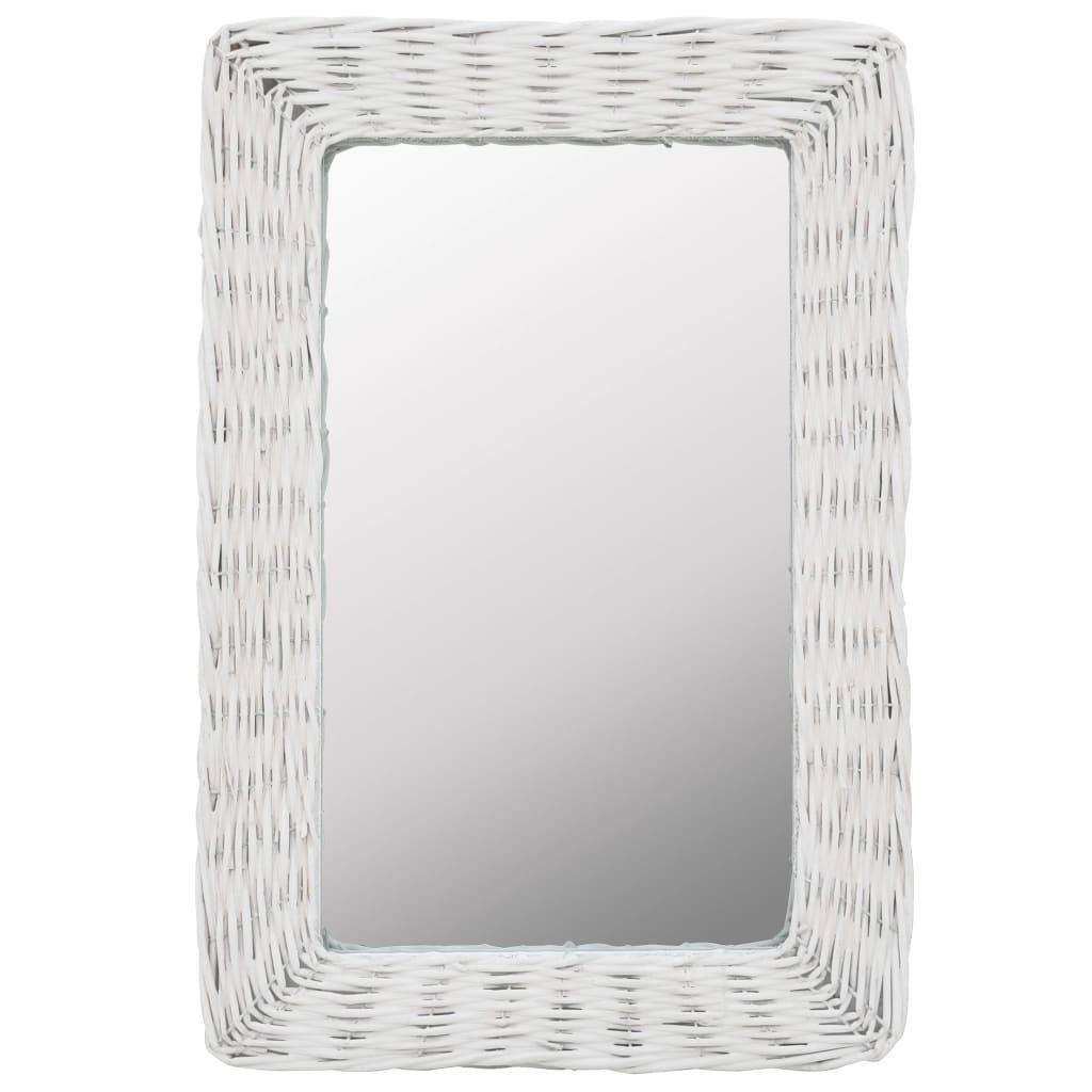 vidaXL Zrcadlo s proutěným rámem 40 x 60 cm bílé