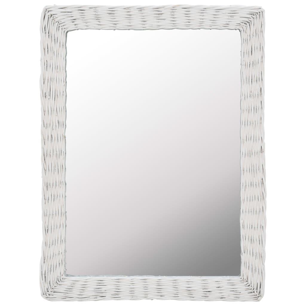 vidaXL Oglindă, alb, 60 x 80 cm, răchită imagine vidaxl.ro
