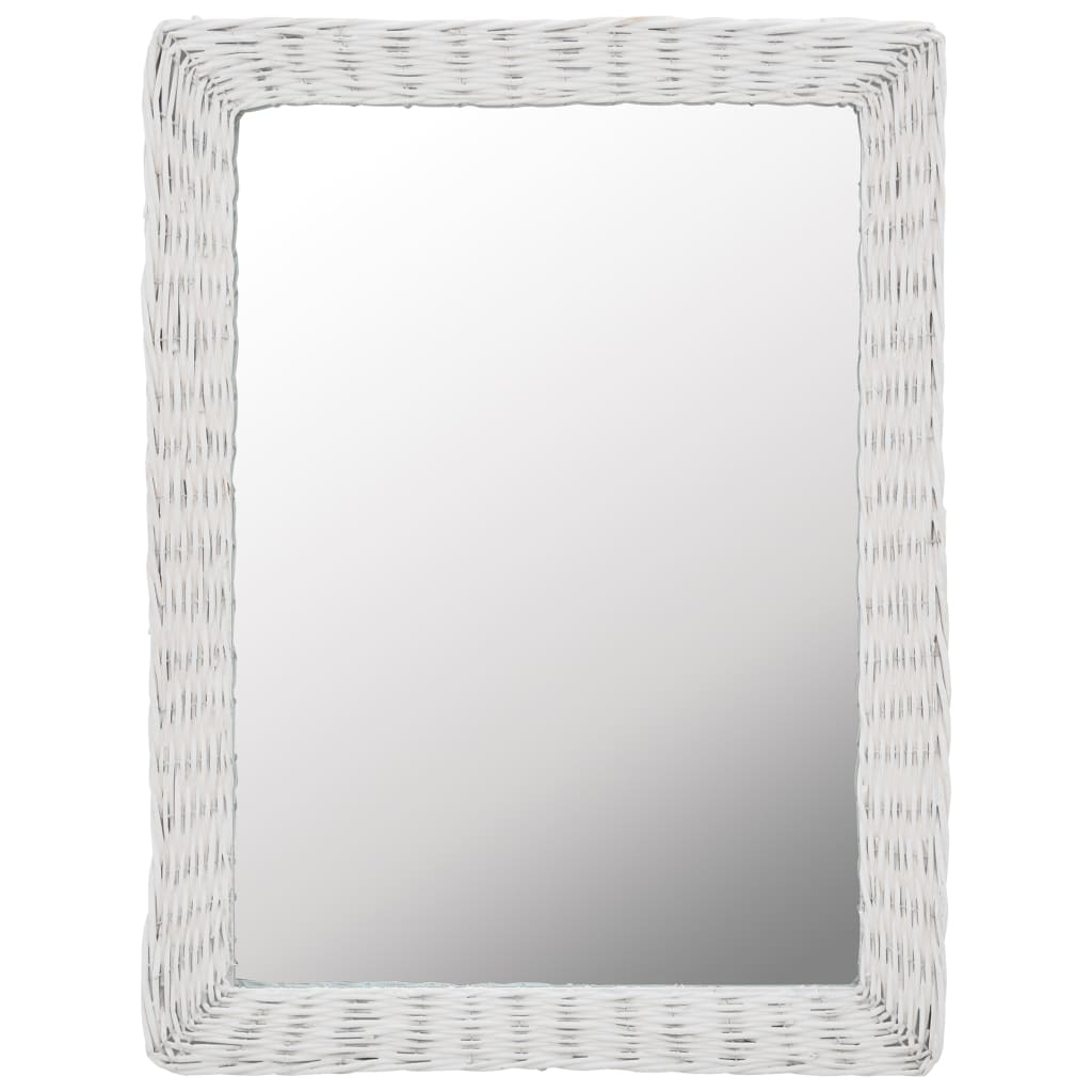 vidaXL Zrcadlo s proutěným rámem 60 x 80 cm bílé
