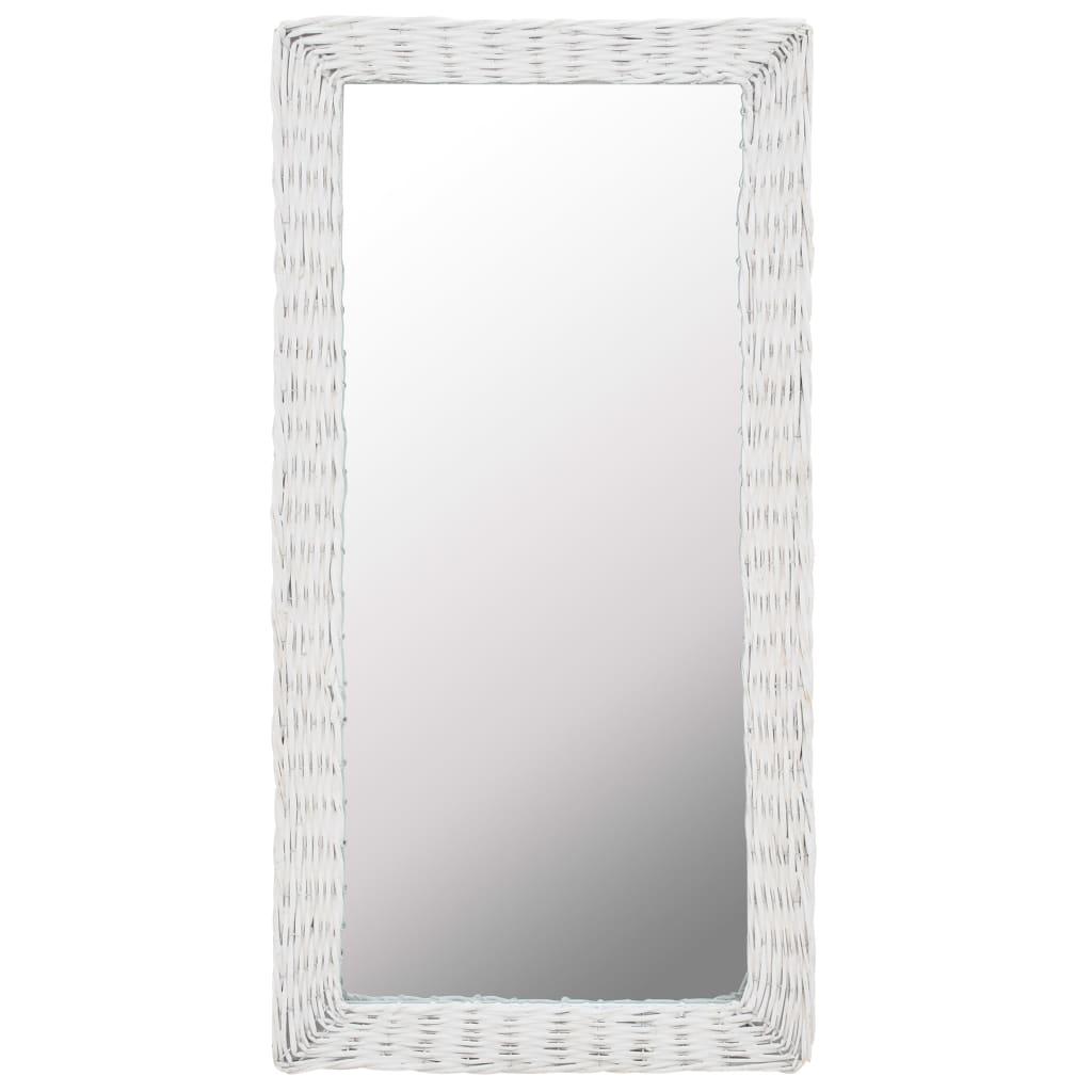 Zrcadlo s proutěným rámem 50 x 100 cm bílé