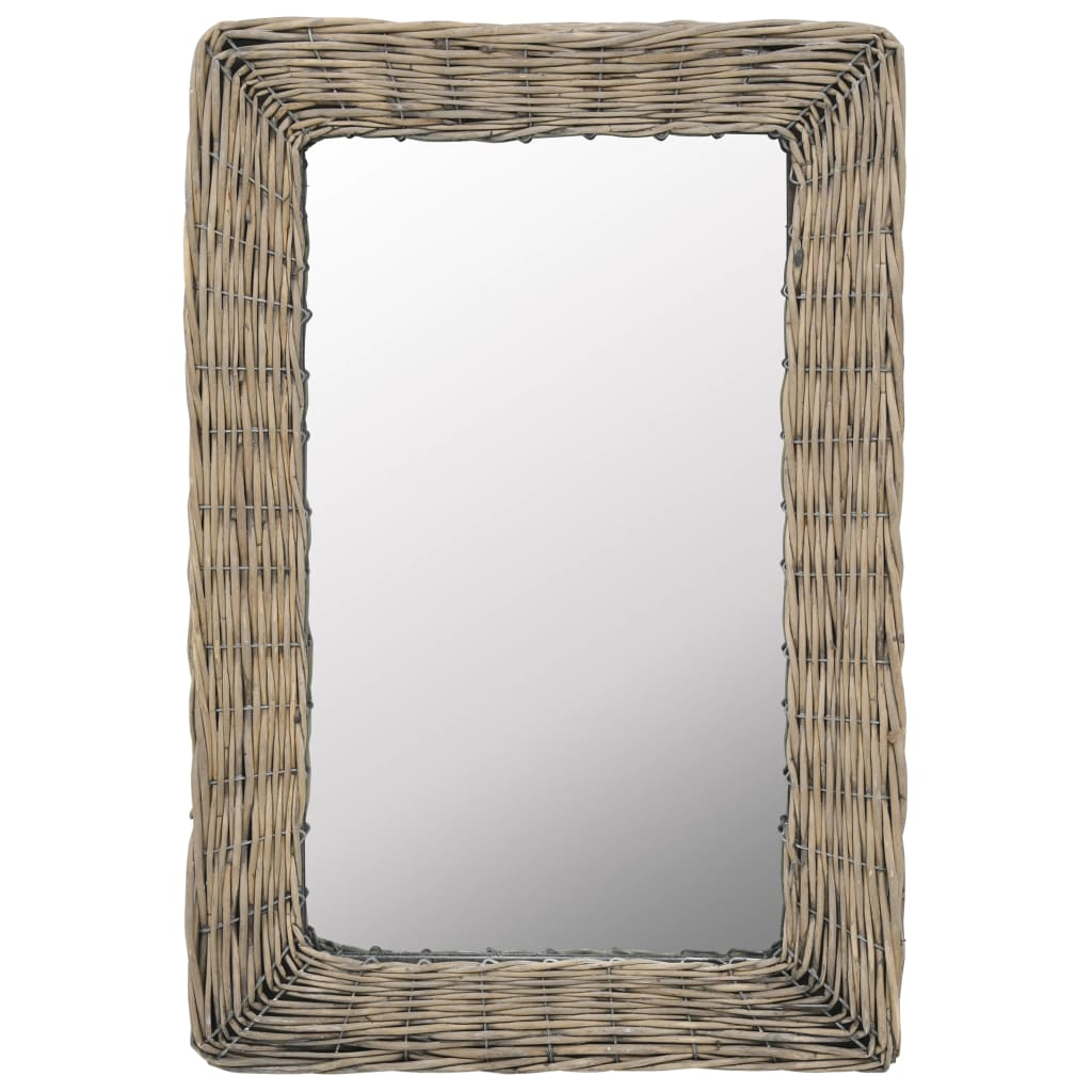 Zrcadlo s proutěným rámem 40 x 60 cm hnědé