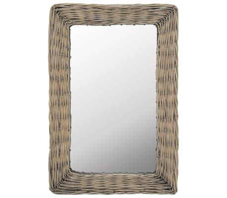 vidaXL Lustro w wiklinowej ramie, brązowe, 40 x 60 cm[1/4]