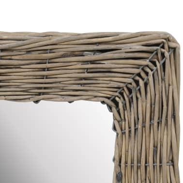 vidaXL Lustro w wiklinowej ramie, brązowe, 40 x 60 cm[3/4]