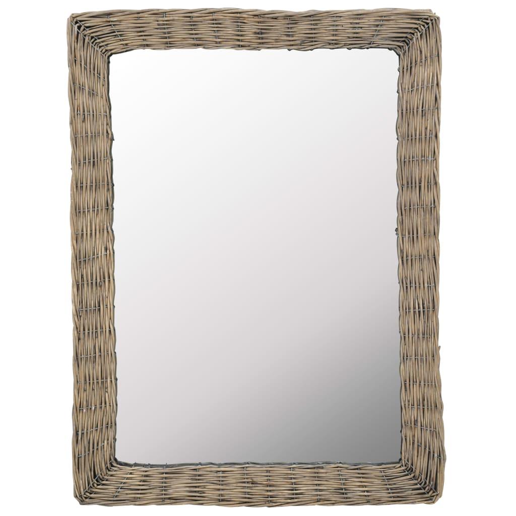 Zrcadlo s proutěným rámem 60 x 80 cm hnědé