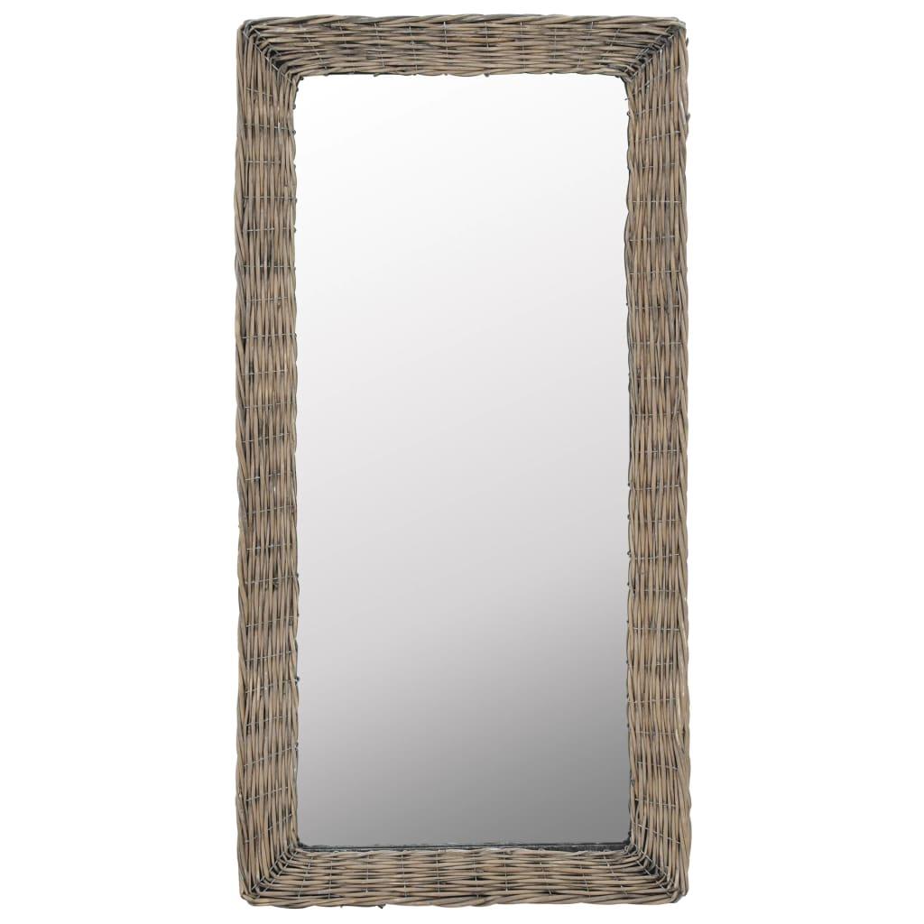 Zrcadlo s proutěným rámem 50 x 100 cm hnědé