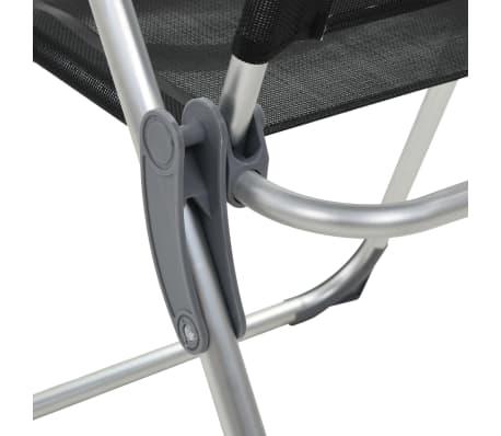 vidaXL Sillas de camping plegables de aluminio 2 unidades negro[7/8]