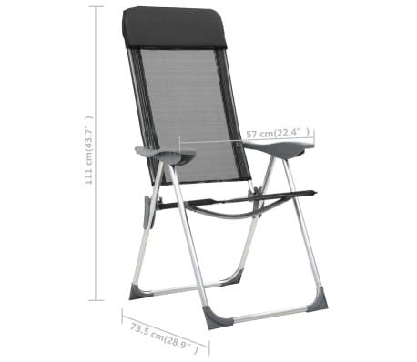 vidaXL Sillas de camping plegables de aluminio 2 unidades negro[8/8]