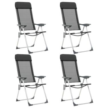 vidaXL Sillas de camping plegables de aluminio 4 unidades negro[1/8]