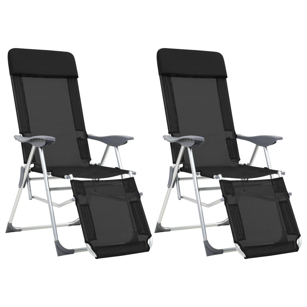 vidaXL Scaune camping pliabile, 2 buc, negru, aluminiu, suport picioare vidaxl.ro