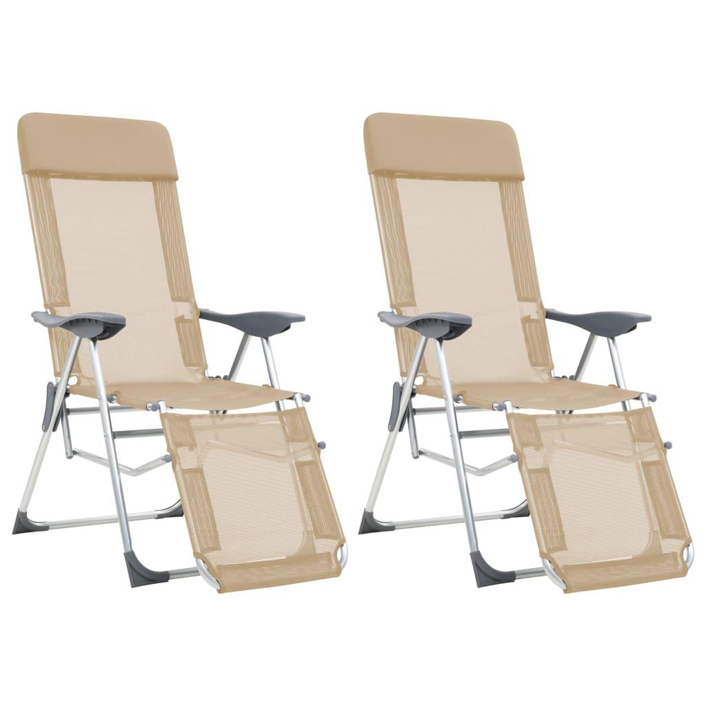 vidaXL Scaune camping pliabile, 2 buc, crem, aluminiu, suport picioare imagine vidaxl.ro