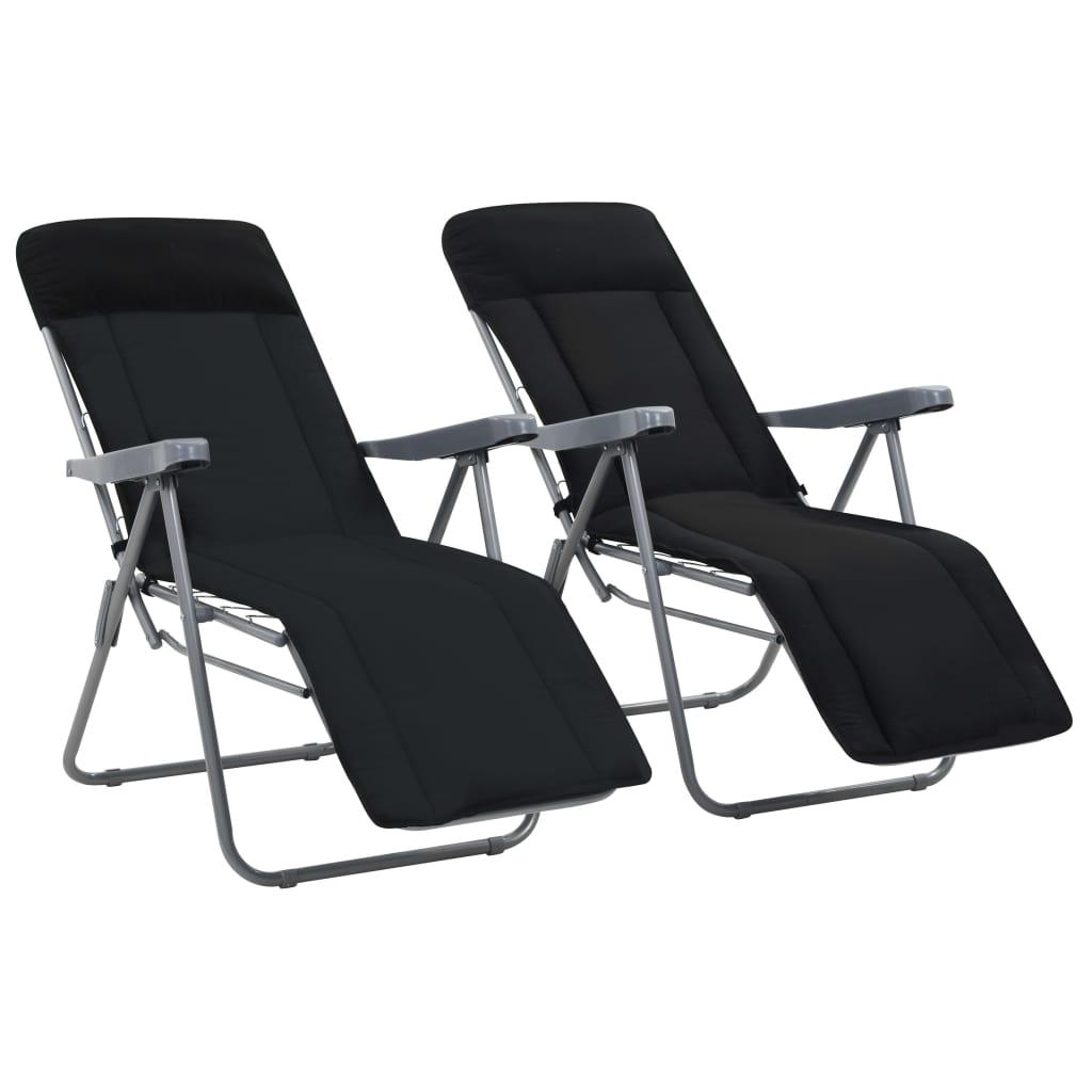vidaXL Καρέκλες Κήπου Πτυσσόμενες 2 τεμ. Μαύρες με Μαξιλάρια