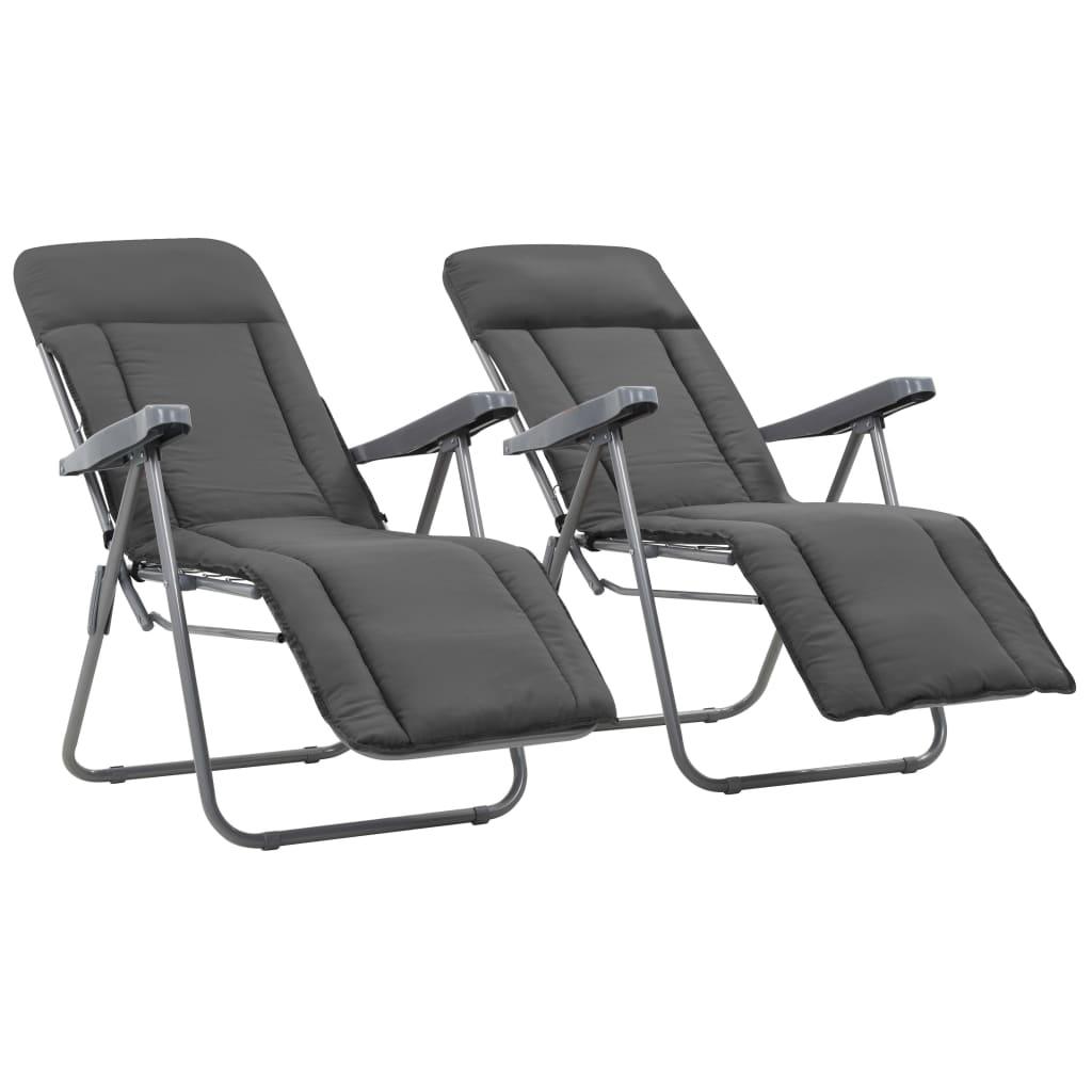 vidaXL Καρέκλες Κήπου Πτυσσόμενες 2 τεμ. Γκρι με Μαξιλάρια
