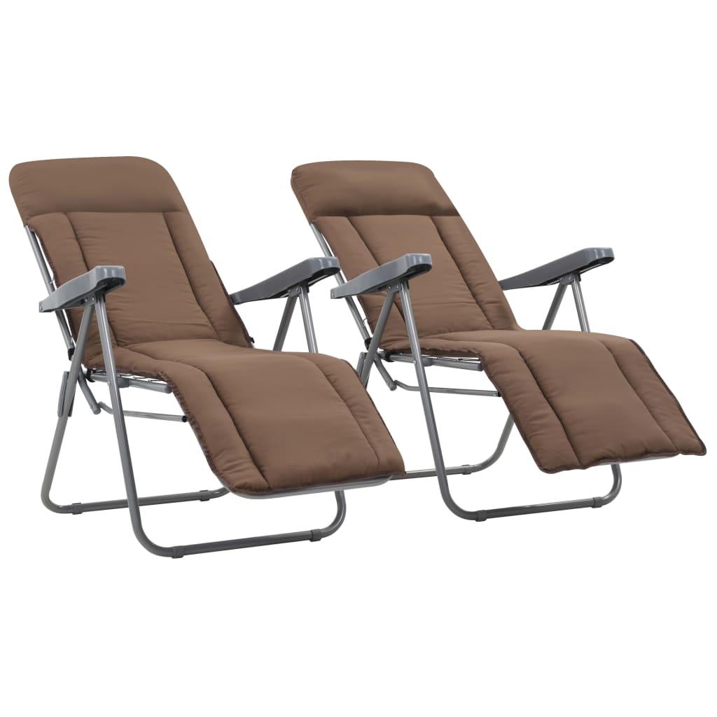 vidaXL Składane krzesła ogrodowe z poduszkami, 2 szt., brązowe