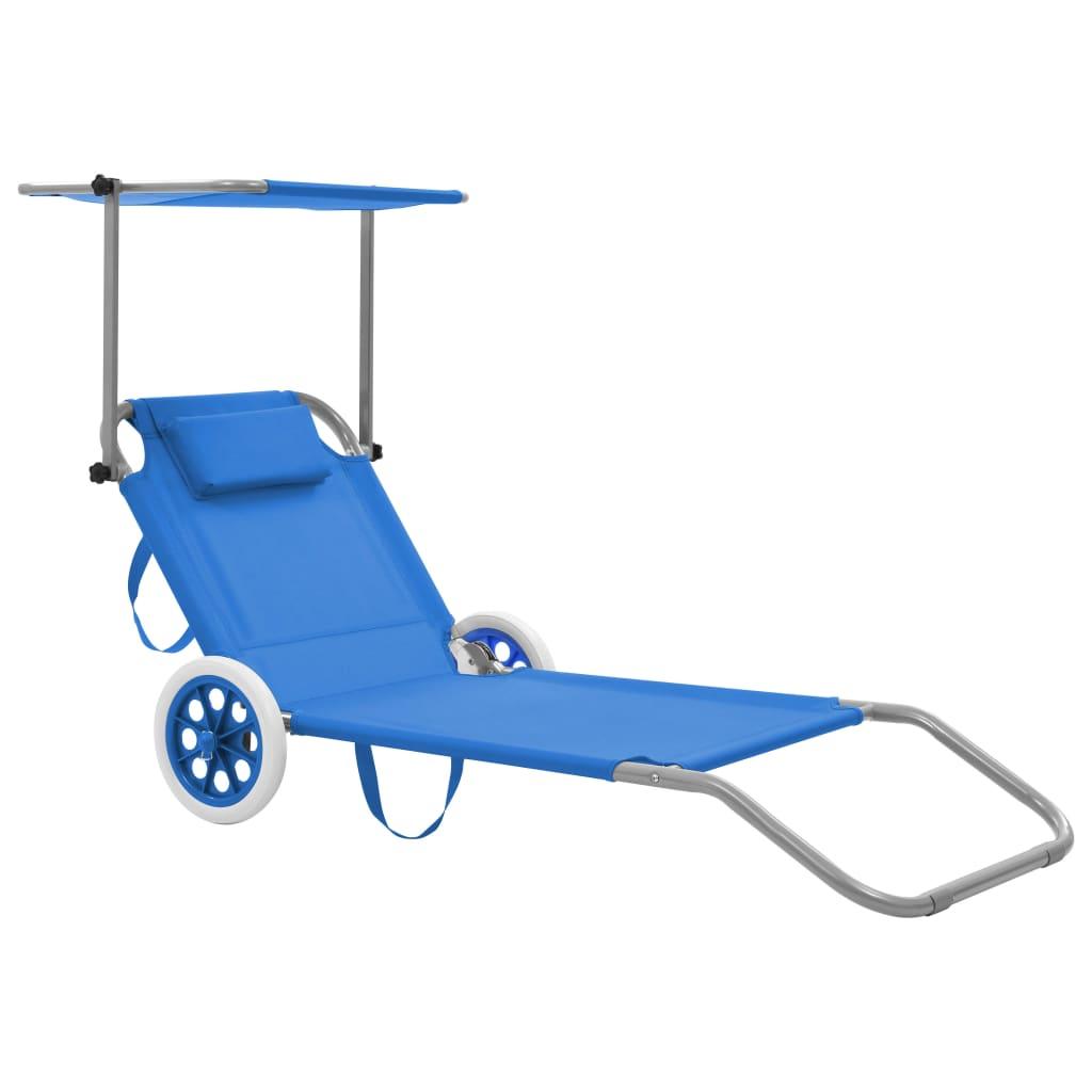 vidaXL Skládací zahradní lehátko se stříškou a kolečky ocel modré