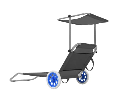 vidaXL foldbar liggestol med baldakin og hjul stål grå[3/9]