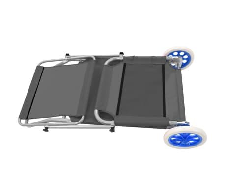 vidaXL foldbar liggestol med baldakin og hjul stål grå[6/9]