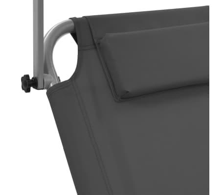 vidaXL foldbar liggestol med baldakin og hjul stål grå[7/9]