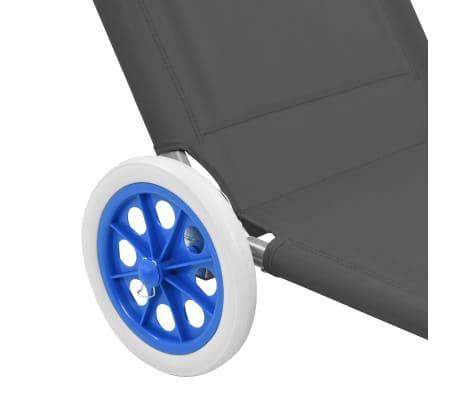 vidaXL foldbar liggestol med baldakin og hjul stål grå[8/9]