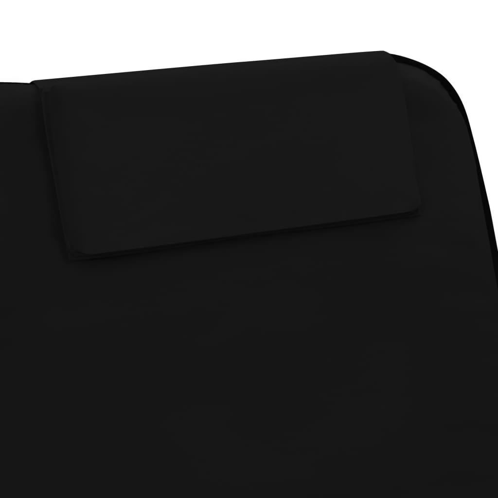 Strandmatten inklapbaar 2 st staal en stof zwart