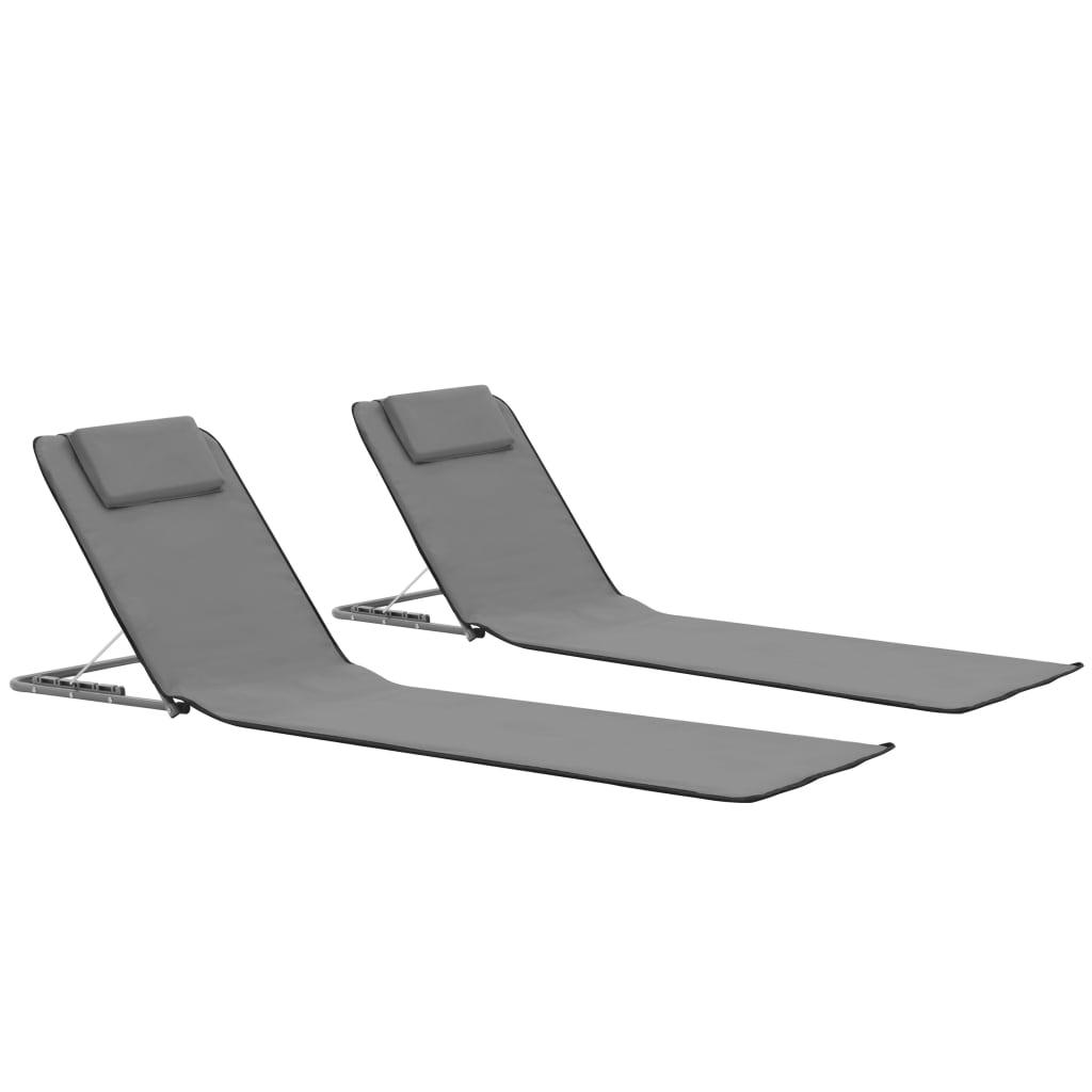 vidaXL Skládací plážové podložky 2 ks ocel a látka šedé