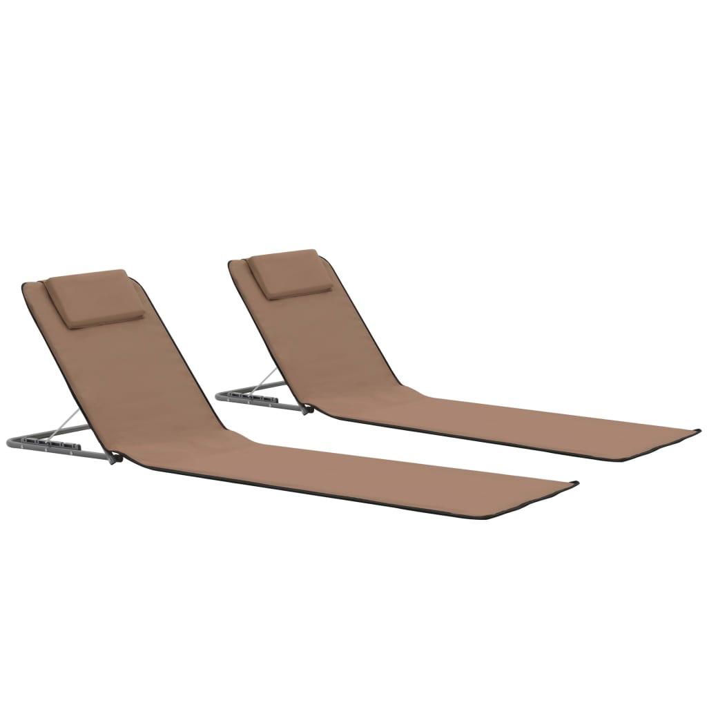 vidaXL Skládací plážové podložky 2 ks ocel a látka hnědé