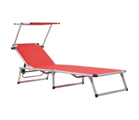 vidaXL piros összecsukható alumínium és textilén napozóágy tetővel