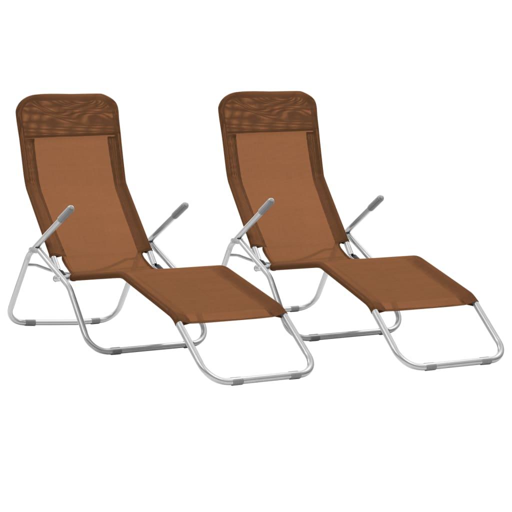 vidaXL Sklopive ležaljke za sunčanje od tekstilena 2 kom smeđe