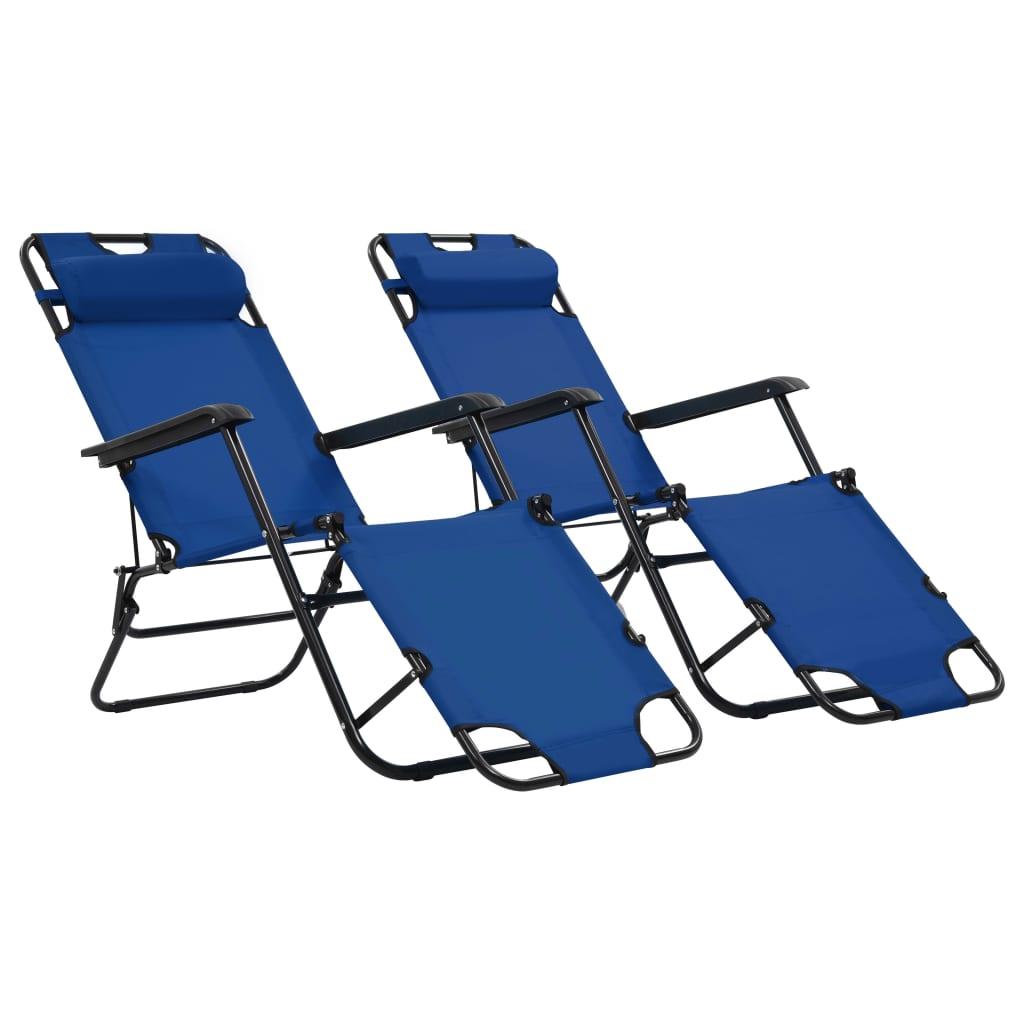 vidaXL Șezlonguri plajă pliabile suport picioare 2 buc. albastru oțel imagine vidaxl.ro