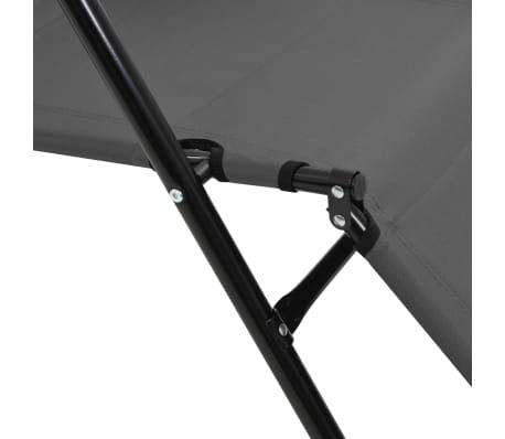 vidaXL Tumbonas plegables con reposapiés 2 unidades acero gris[12/13]