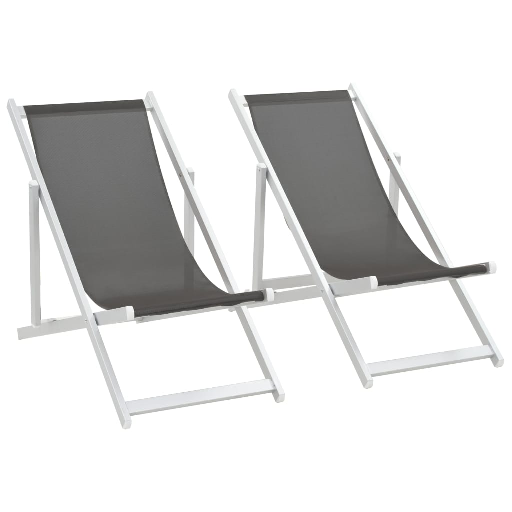 vidaXL Składane krzesła plażowe, 2 szt., aluminium i textilene, szare