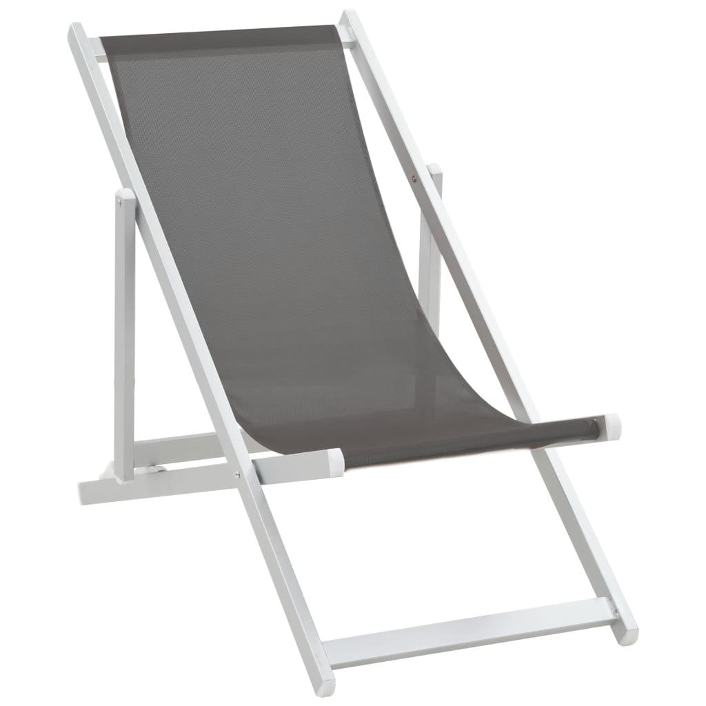 vidaXL Strandstoelen inklapbaar 2 st aluminium en textileen grijs