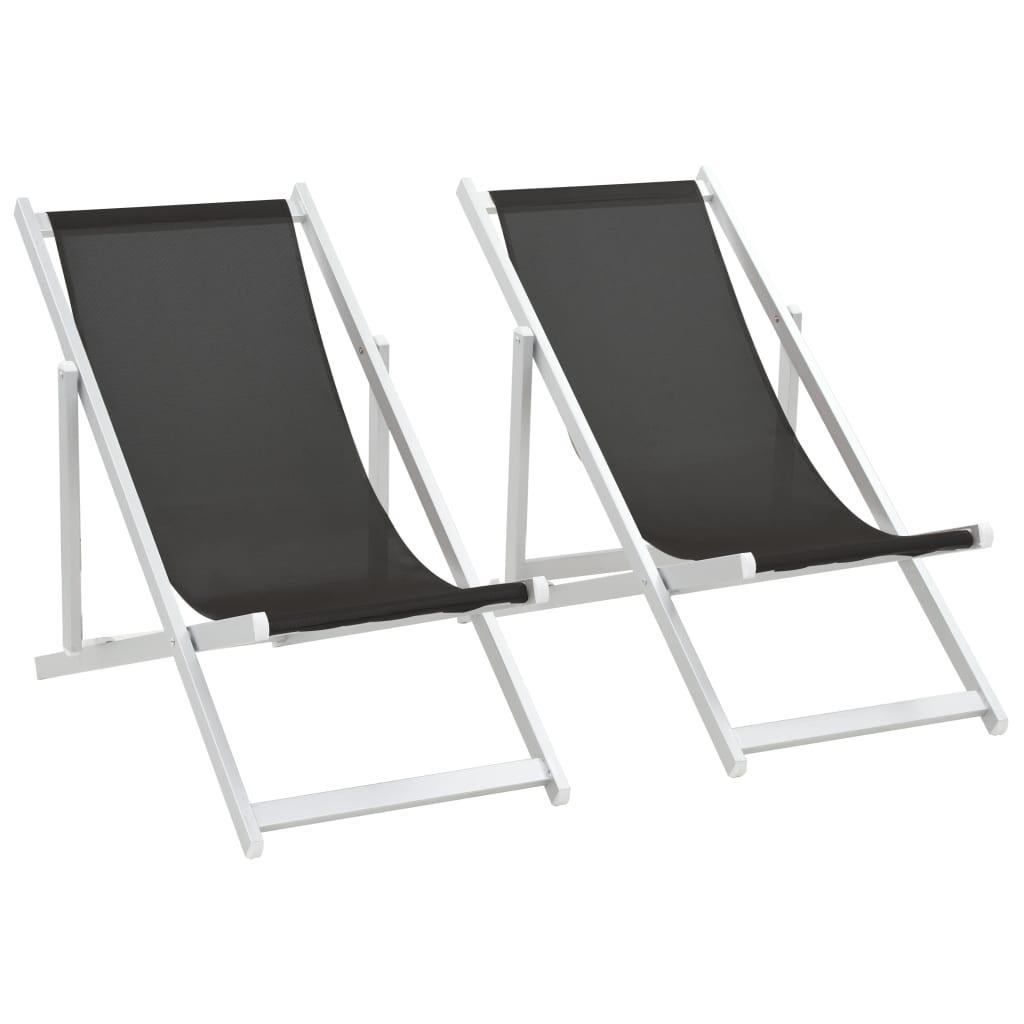 vidaXL Skládací plážová křesla 2 ks hliník a textilen černá