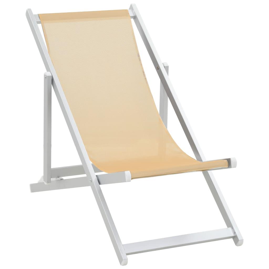 vidaXL Strandstoelen inklapbaar 2 st aluminium en textileen cr�me