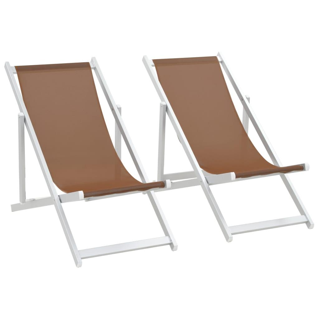 vidaXL Scaune pliante de plajă, 2 buc., maro, aluminiu și textilenă imagine vidaxl.ro