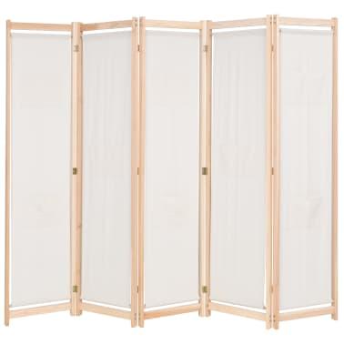 vidaXL Paravan cameră, 5 panouri, crem, 200x170x4 cm, material textil[1/4]